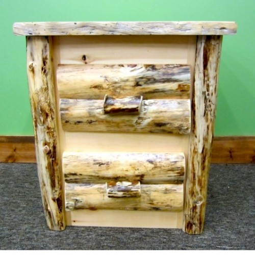 Northern Rustic Pine 2 Drawer Log Nightstand