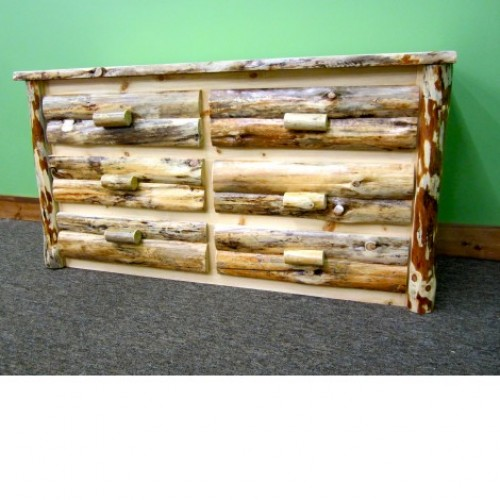 Northern Rustic Pine 6 Drawer Log Dresser