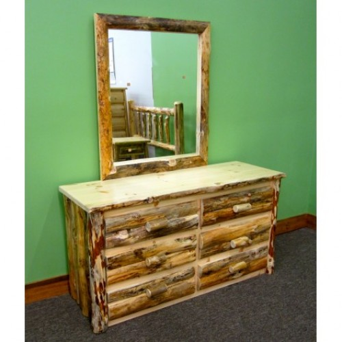 Northern Rustic Pine 6 Drawer Log Dresser w/ Mirror