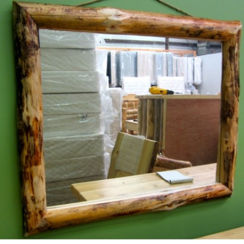 Northern Rustic Pine Log Mirror 35x29in