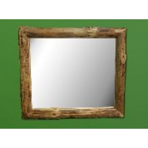 Northern Rustic Pine Log Mirror 42x36 in