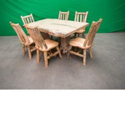 Northern Rustic Pine Log Stump Kitchen/Dining Table
