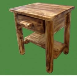 Northern Torched Cedar 1 Drawer Log Nightstand w/ Shelf