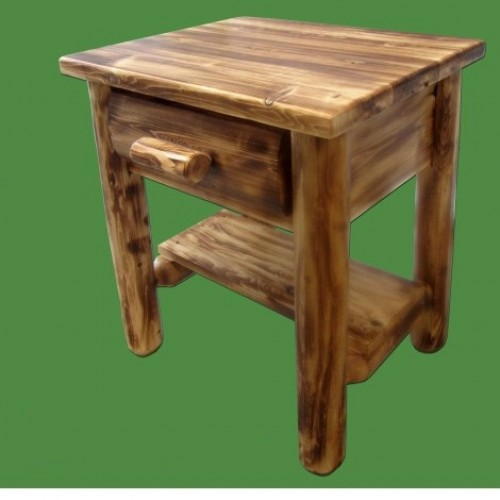 Northern Torched Cedar 1 Drawer Log Nightstand w/ Shelf
