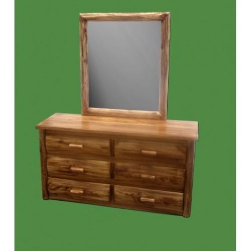 Northern Torched Cedar 6 Drawer Log Dresser w/ Mirror