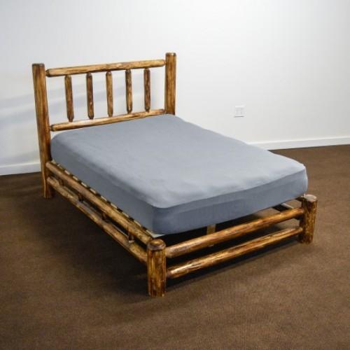 Northern Torched Cedar Log Platform Bed