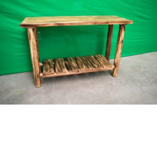 Northern Torched Cedar Log Sofa Table