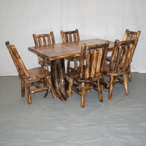 Northern Torched Cedar Log Stump Kitchen/Dining Table